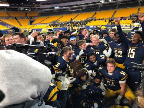 A final group photo of the 2019 Central Catholic Football team after their WPIAL win at Heinz Field